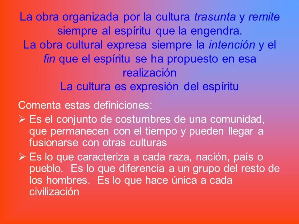 Recuerda que sólo el hombre que trasciende lo material puede comprender la cultura: su mensaje, su significación y su finalidad