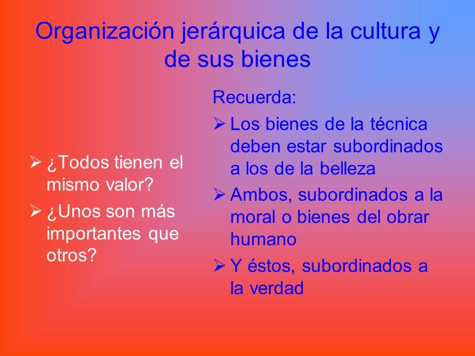 Organización jerárquica de la cultura y de sus bienes ¿Todos tienen el mismo valor? ¿Unos son más importantes que otros? Recuerda: Los bienes de la té
