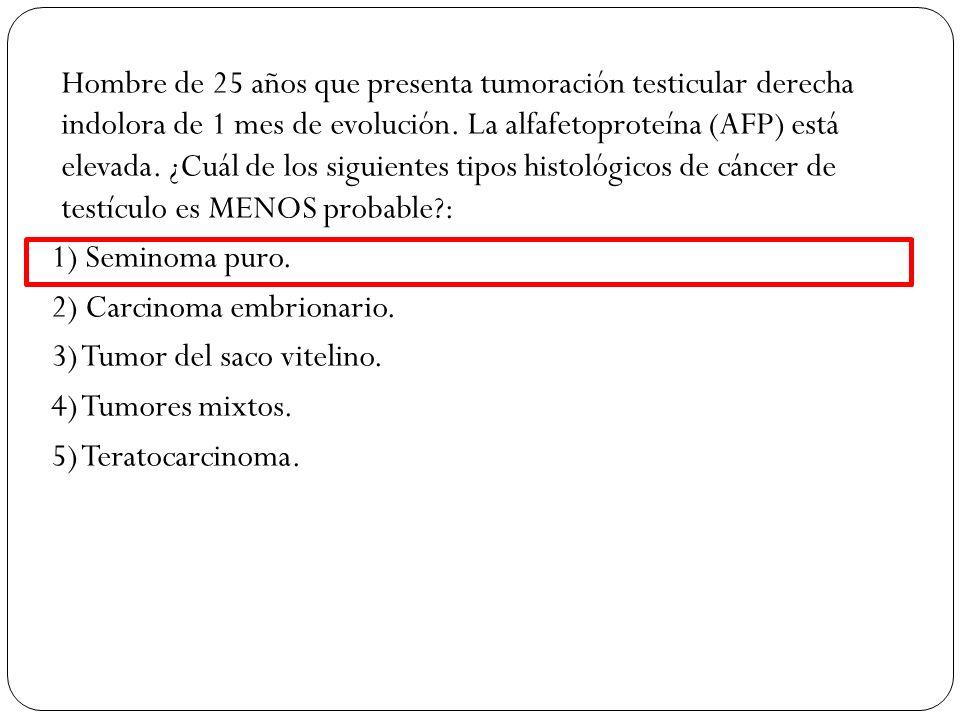 Hombre de 25 años que presenta tumoración testicular derecha indolora de 1 mes de evolución. La alfafetoproteína (AFP) está elevada. ¿Cuál de los sigu