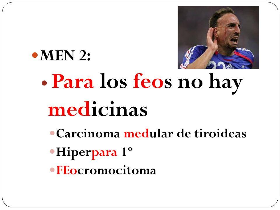 MEN 2: Para los feos no hay medicinas Carcinoma medular de tiroideas Hiperpara 1º FEocromocitoma