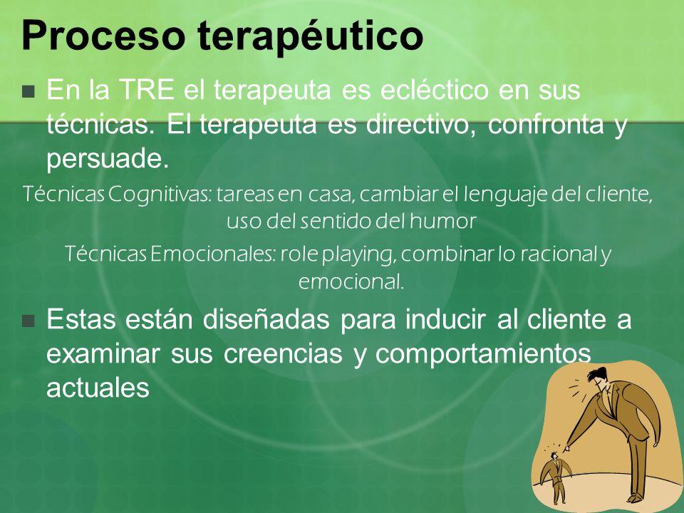 Proceso terapéutico En la TRE el terapeuta es ecléctico en sus técnicas. El terapeuta es directivo, confronta y persuade. Técnicas Cognitivas: tareas