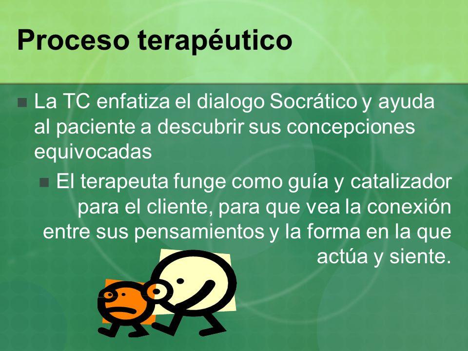 Proceso terapéutico La TC enfatiza el dialogo Socrático y ayuda al paciente a descubrir sus concepciones equivocadas El terapeuta funge como guía y ca