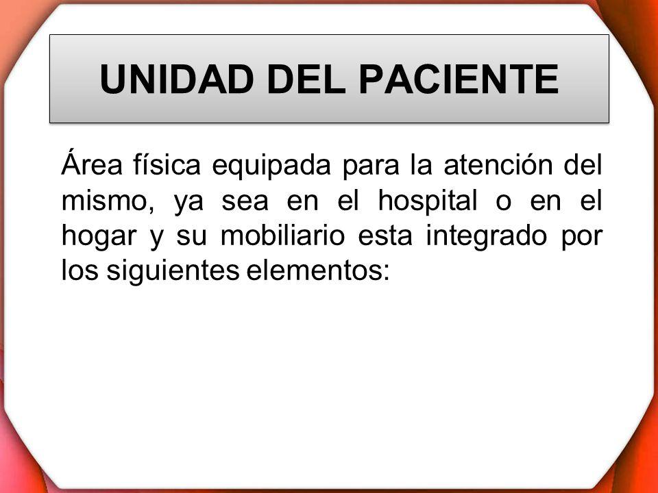 UNIDAD DEL PACIENTE Cama tipo hospital Colchón Almohada Mesa tipo puente Silla Locker Nochero Cesta para la basura