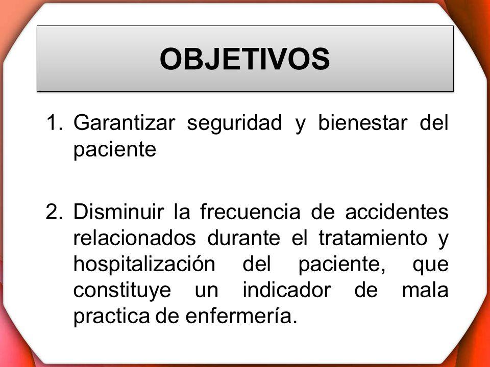 OBJETIVOS 1.Garantizar seguridad y bienestar del paciente 2.Disminuir la frecuencia de accidentes relacionados durante el tratamiento y hospitalizació
