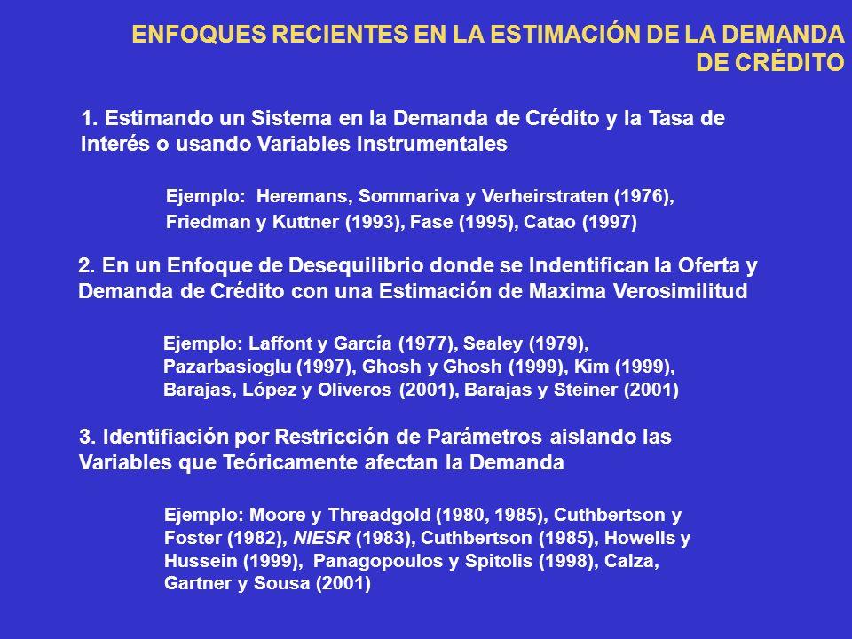 ENFOQUES RECIENTES EN LA ESTIMACIÓN DE LA DEMANDA DE CRÉDITO 1.