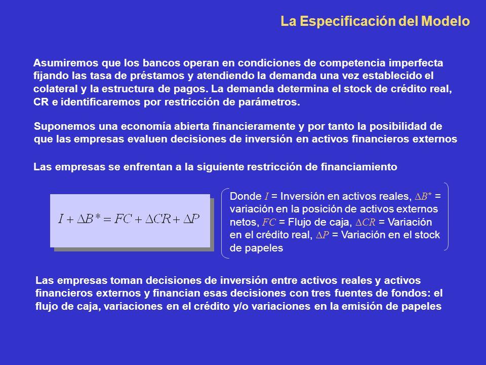 La Especificación del Modelo Asumiremos que los bancos operan en condiciones de competencia imperfecta fijando las tasa de préstamos y atendiendo la d