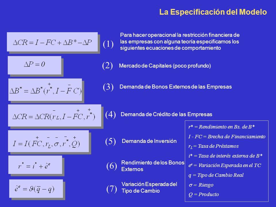 La Especificación del Modelo Para hacer operacional la restricción financiera de las empresas con alguna teoría especificamos los siguientes ecuaciones de comportamiento (1) (2) Mercado de Capitales (poco profundo) (3) Demanda de Bonos Externos de las Empresas (4) Demanda de Crédito de las Empresas (7) Variación Esperada del Tipo de Cambio (6) Rendimiento de los Bonos Externos r* = Rendimiento en Bs.