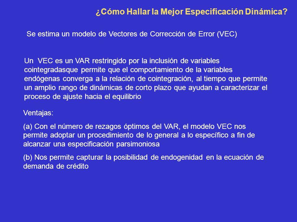 ¿Cómo Hallar la Mejor Especificación Dinámica? Ventajas: (a) Con el número de rezagos óptimos del VAR, el modelo VEC nos permite adoptar un procedimie