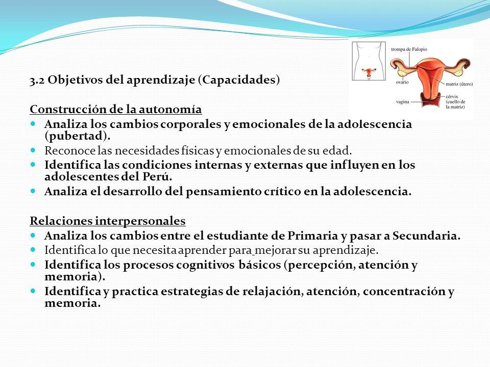 3.2 Objetivos del aprendizaje (Capacidades) Construcción de la autonomía Analiza los cambios corporales y emocionales de la adolescencia (pubertad).