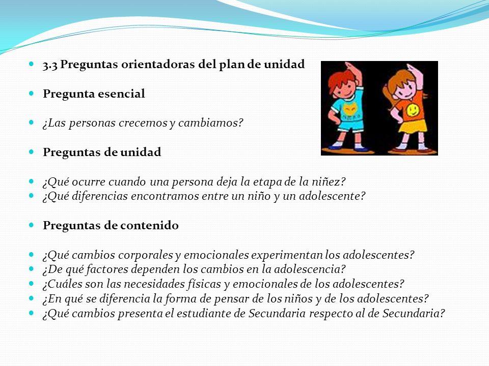 3.3 Preguntas orientadoras del plan de unidad Pregunta esencial ¿Las personas crecemos y cambiamos.