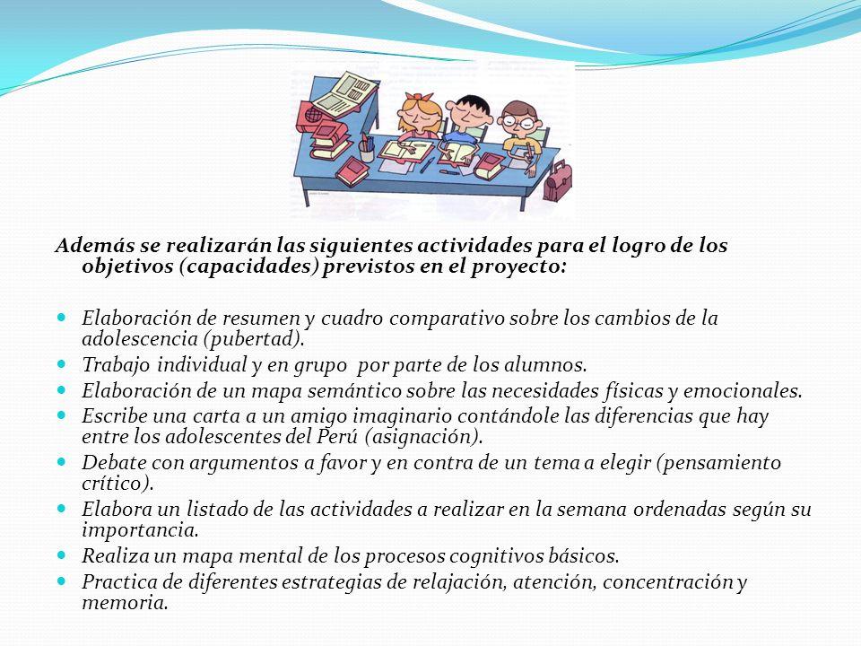 Además se realizarán las siguientes actividades para el logro de los objetivos (capacidades) previstos en el proyecto: Elaboración de resumen y cuadro comparativo sobre los cambios de la adolescencia (pubertad).