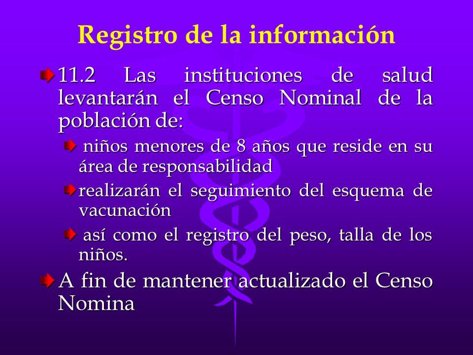 Registro de la información 11.2 Las instituciones de salud levantarán el Censo Nominal de la población de: niños menores de 8 años que reside en su ár