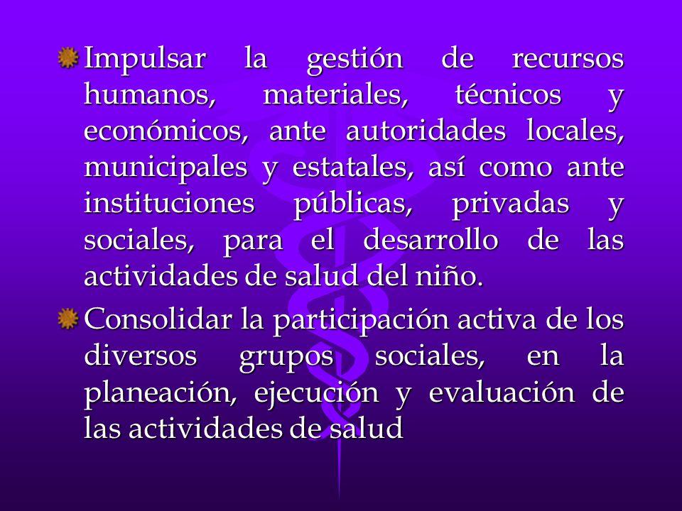 Impulsar la gestión de recursos humanos, materiales, técnicos y económicos, ante autoridades locales, municipales y estatales, así como ante instituci