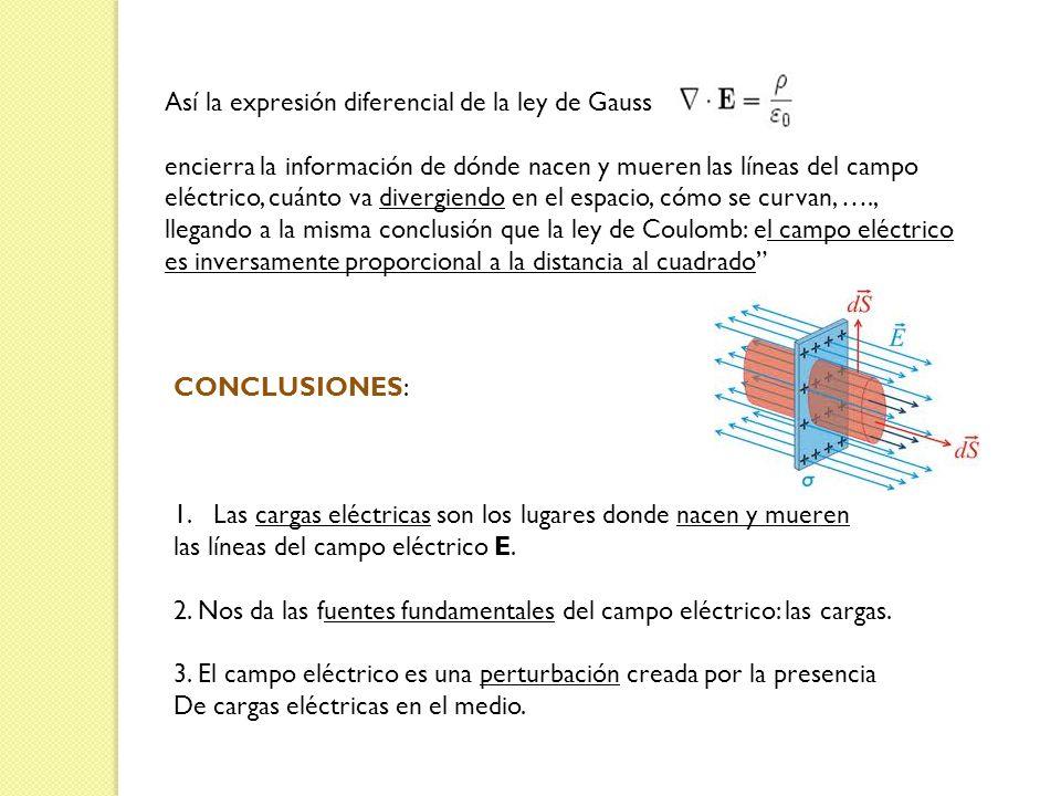 Así la expresión diferencial de la ley de Gauss encierra la información de dónde nacen y mueren las líneas del campo eléctrico, cuánto va divergiendo