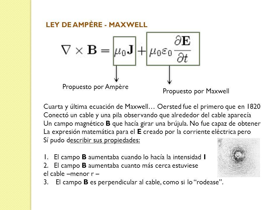 LEY DE AMPÈRE - MAXWELL Propuesto por Ampère Propuesto por Maxwell Cuarta y última ecuación de Maxwell… Oersted fue el primero que en 1820 Conectó un