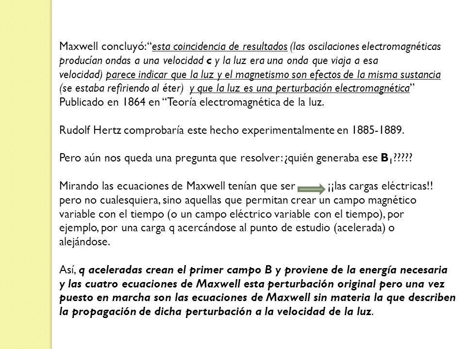 Maxwell concluyó: esta coincidencia de resultados (las oscilaciones electromagnéticas producían ondas a una velocidad c y la luz era una onda que viaj