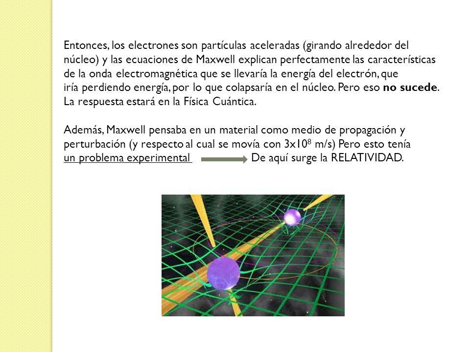Entonces, los electrones son partículas aceleradas (girando alrededor del núcleo) y las ecuaciones de Maxwell explican perfectamente las característic