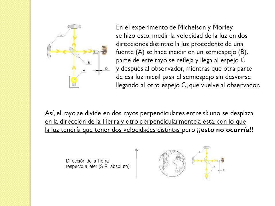 En el experimento de Michelson y Morley se hizo esto: medir la velocidad de la luz en dos direcciones distintas: la luz procedente de una fuente (A) s