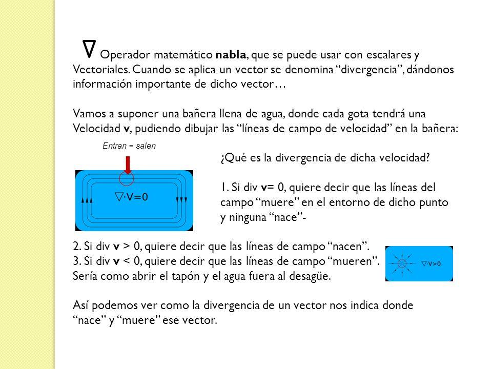 Operador matemático nabla, que se puede usar con escalares y Vectoriales. Cuando se aplica un vector se denomina divergencia, dándonos información imp