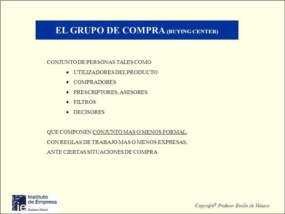 Copyright © Profesor Emilio de Velasco EL GRUPO DE COMPRA (BUYING CENTER) CONJUNTO DE PERSONAS TALES COMO UTILIZADORES DEL PRODUCTO COMPRADORES PRESCR