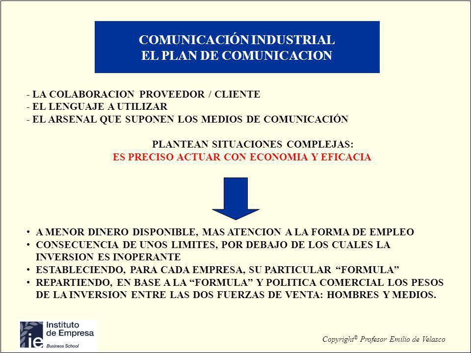Copyright © Profesor Emilio de Velasco COMUNICACIÓN INDUSTRIAL EL PLAN DE COMUNICACION - LA COLABORACION PROVEEDOR / CLIENTE - EL LENGUAJE A UTILIZAR