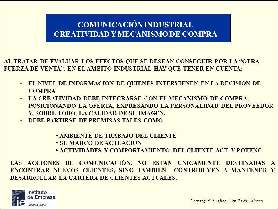Copyright © Profesor Emilio de Velasco COMUNICACIÓN INDUSTRIAL CREATIVIDAD Y MECANISMO DE COMPRA AL TRATAR DE EVALUAR LOS EFECTOS QUE SE DESEAN CONSEG
