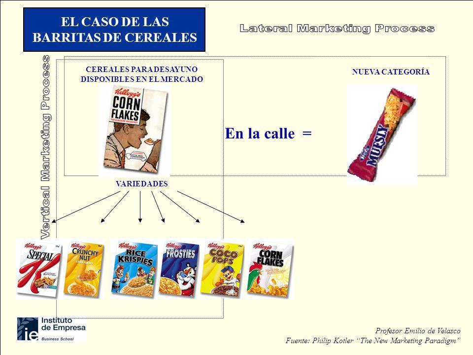 CEREALES PARA DESAYUNO DISPONIBLES EN EL MERCADO VARIEDADES NUEVA CATEGORÍA En la calle = EL CASO DE LAS BARRITAS DE CEREALES Profesor Emilio de Velas