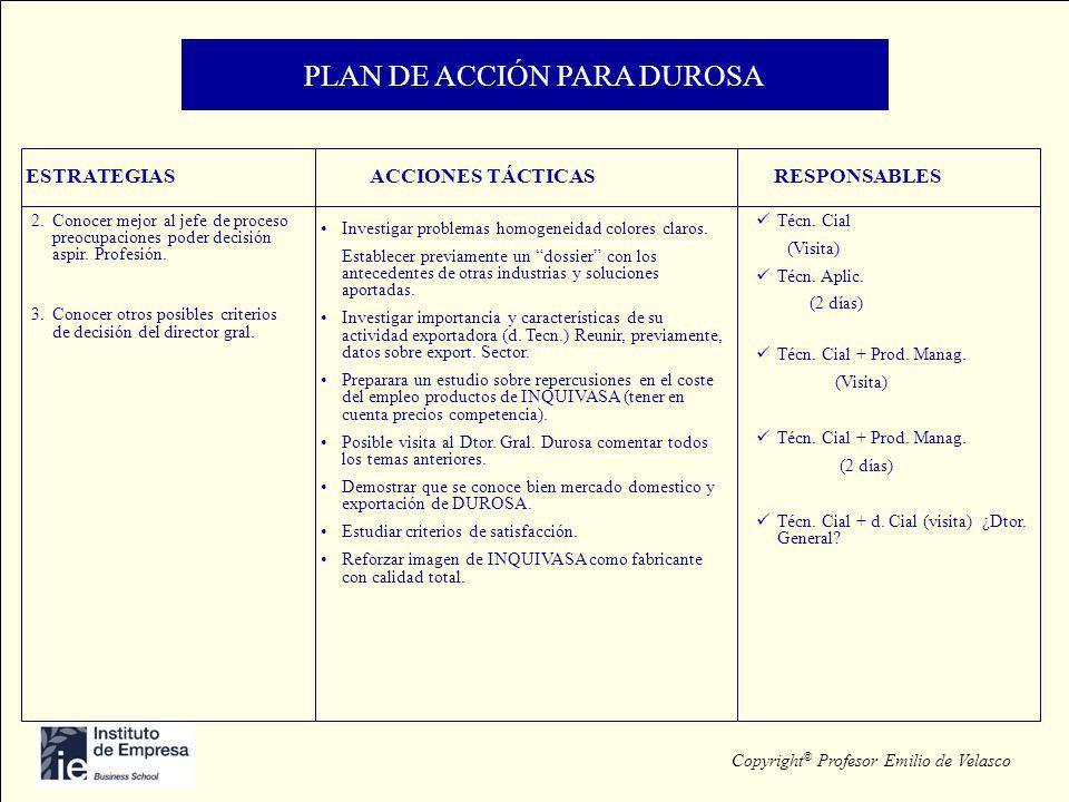 Copyright © Profesor Emilio de Velasco PLAN DE ACCIÓN PARA DUROSA ESTRATEGIASACCIONES TÁCTICASRESPONSABLES 2.Conocer mejor al jefe de proceso preocupa
