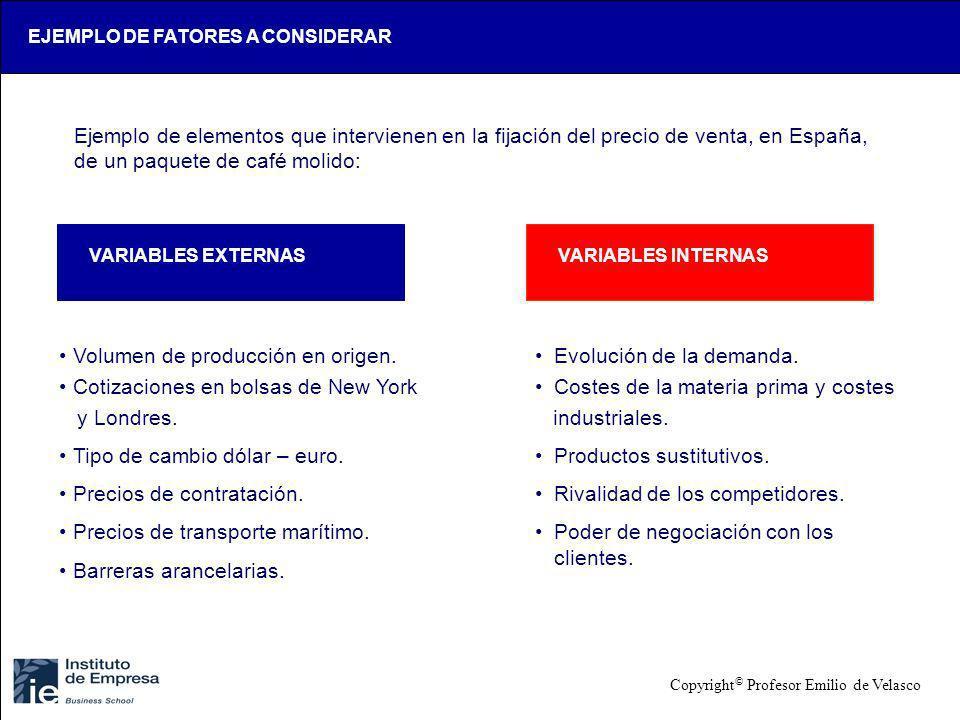 EJEMPLO DE FATORES A CONSIDERAR Ejemplo de elementos que intervienen en la fijación del precio de venta, en España, de un paquete de café molido: VARI