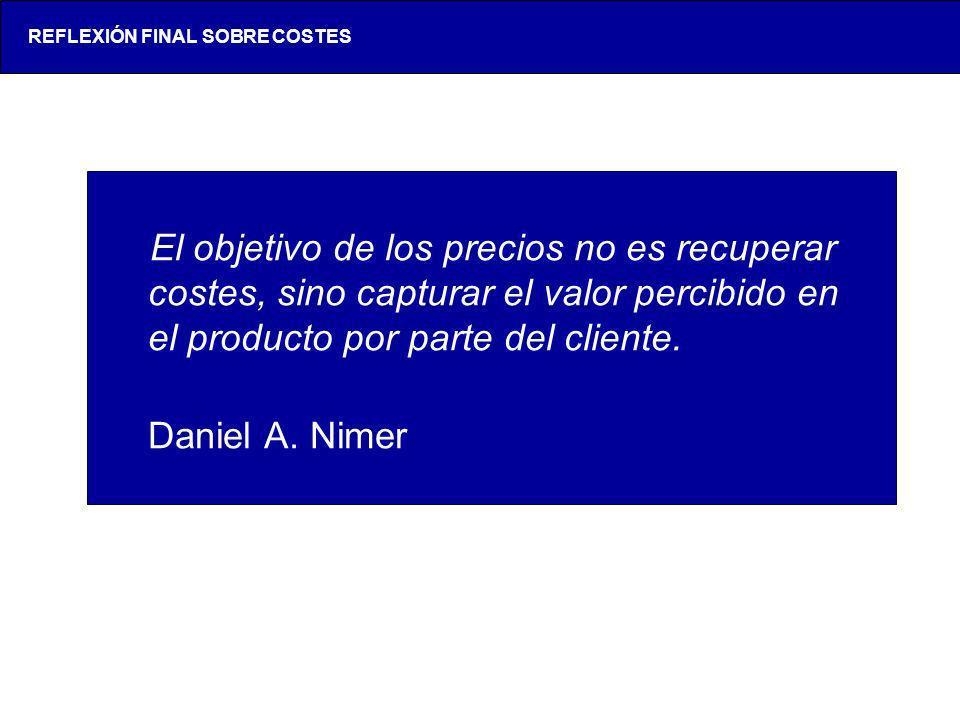 Una reflexión inicial El objetivo de los precios no es recuperar costes, sino capturar el valor percibido en el producto por parte del cliente. Daniel