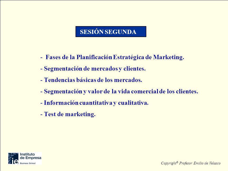 - Fases de la Planificación Estratégica de Marketing. - Segmentación de mercados y clientes. - Tendencias básicas de los mercados. - Segmentación y va