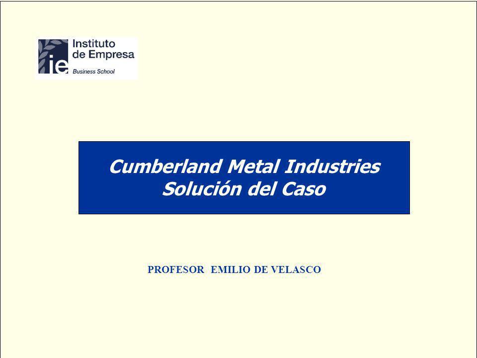 PROFESOR EMILIO DE VELASCO Cumberland Metal Industries Solución del Caso