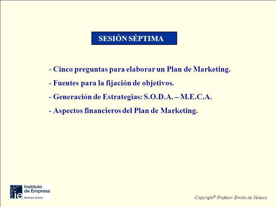 - Cinco preguntas para elaborar un Plan de Marketing. - Fuentes para la fijación de objetivos. - Generación de Estrategias: S.O.D.A. – M.E.C.A. - Aspe