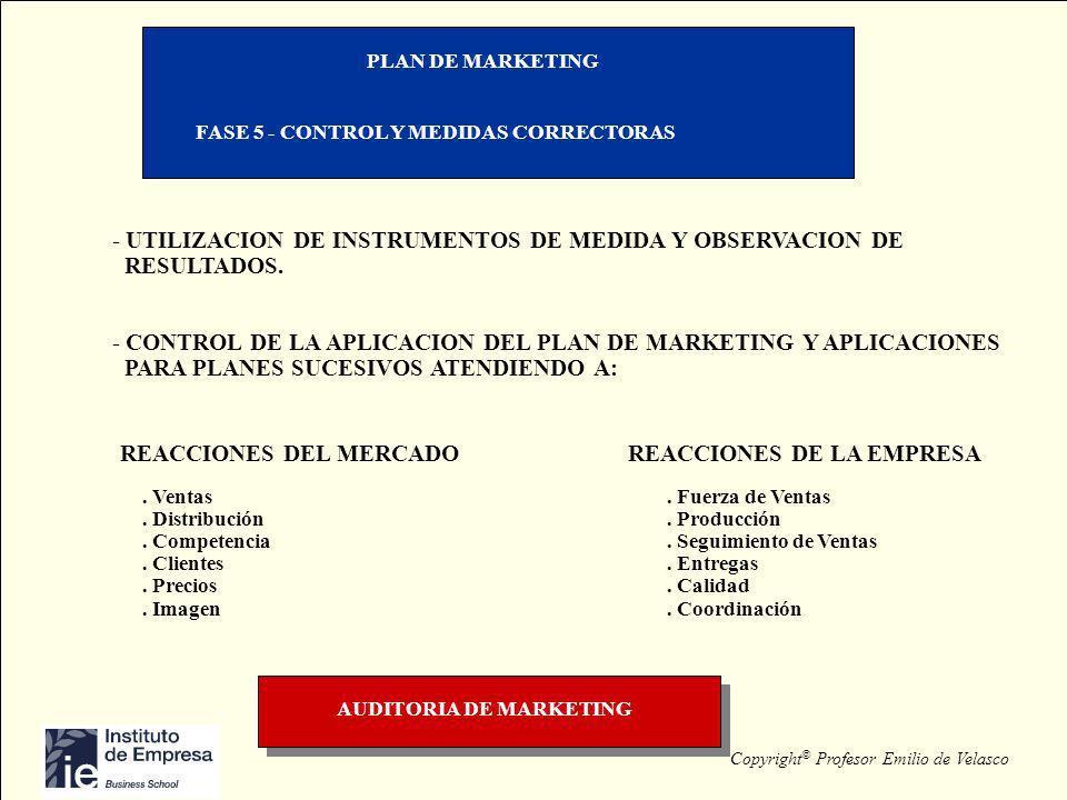 Copyright © Profesor Emilio de Velasco PLAN DE MARKETING FASE 5 - CONTROL Y MEDIDAS CORRECTORAS - UTILIZACION DE INSTRUMENTOS DE MEDIDA Y OBSERVACION
