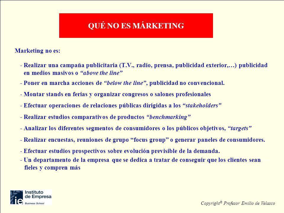Marketing no es: - Realizar una campaña publicitaria (T.V., radio, prensa, publicidad exterior,…) publicidad - en medios masivos o above the line - Po