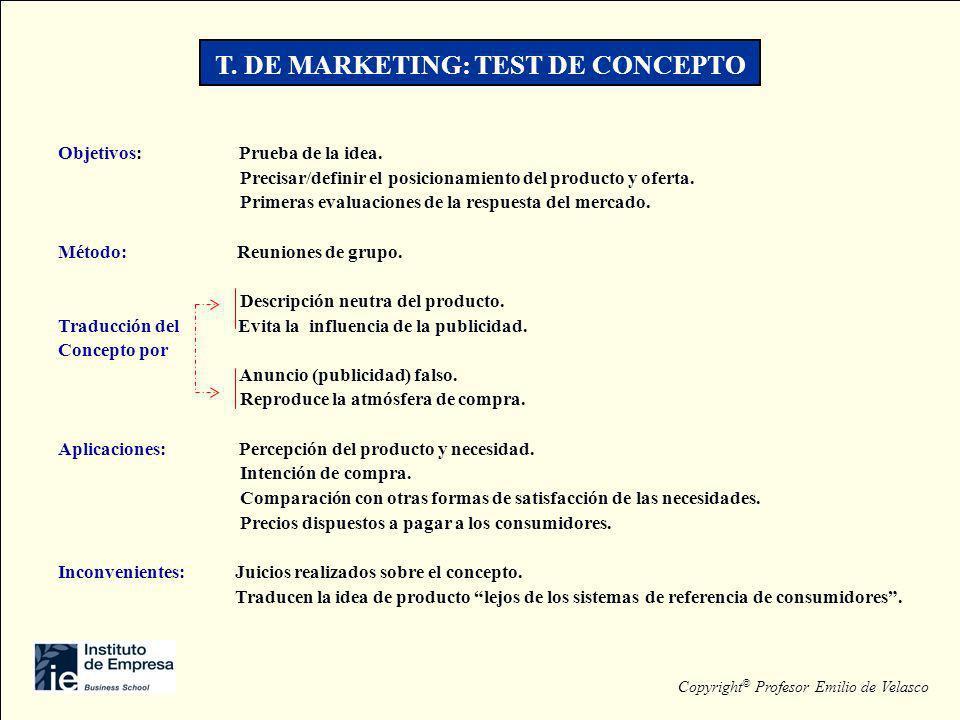 T. DE MARKETING: TEST DE CONCEPTO Objetivos: Prueba de la idea. Precisar/definir el posicionamiento del producto y oferta. Primeras evaluaciones de la