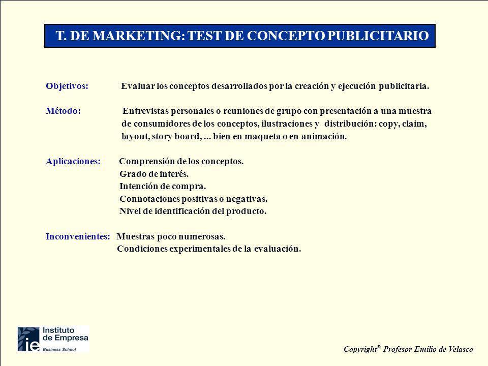T. DE MARKETING: TEST DE CONCEPTO PUBLICITARIO Objetivos: Evaluar los conceptos desarrollados por la creación y ejecución publicitaria. Método: Entrev
