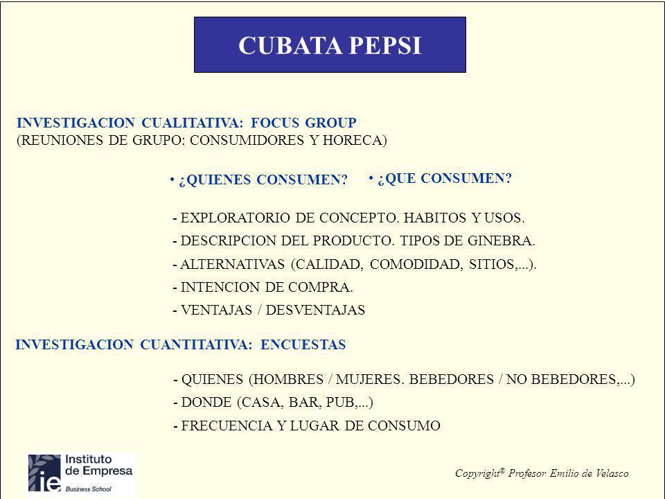 Copyright © Profesor Emilio de Velasco CUBATA PEPSI INVESTIGACION CUALITATIVA: FOCUS GROUP (REUNIONES DE GRUPO: CONSUMIDORES Y HORECA) ¿QUIENES CONSUM