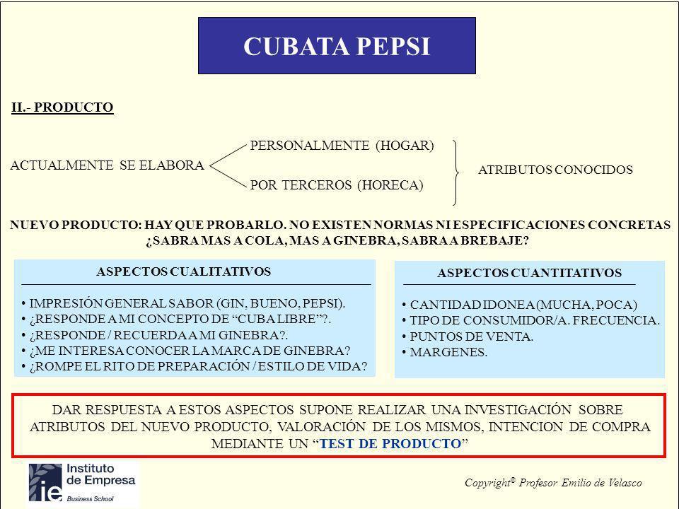 Copyright © Profesor Emilio de Velasco CUBATA PEPSI II.- PRODUCTO PERSONALMENTE (HOGAR) POR TERCEROS (HORECA) ACTUALMENTE SE ELABORA ATRIBUTOS CONOCID