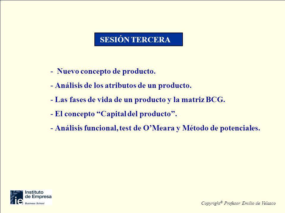 - Nuevo concepto de producto. - Análisis de los atributos de un producto. - Las fases de vida de un producto y la matriz BCG. - El concepto Capital de