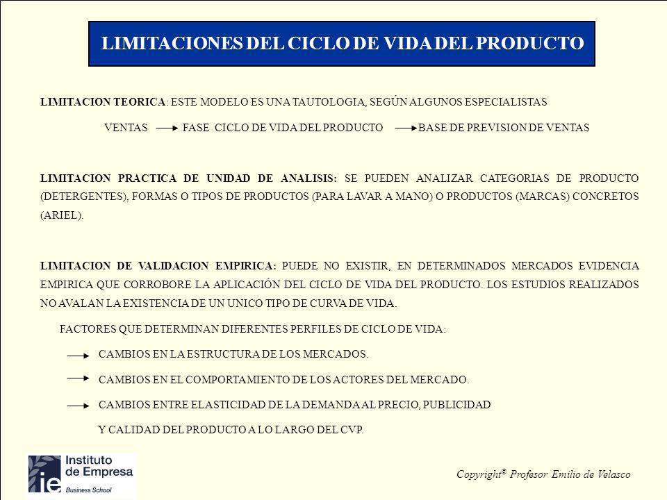 Copyright © Profesor Emilio de Velasco LIMITACIONES DEL CICLO DE VIDA DEL PRODUCTO LIMITACION TEORICA: ESTE MODELO ES UNA TAUTOLOGIA, SEGÚN ALGUNOS ES