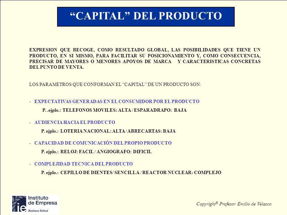 Copyright © Profesor Emilio de Velasco CAPITAL DEL PRODUCTO EXPRESION QUE RECOGE, COMO RESULTADO GLOBAL, LAS POSIBILIDADES QUE TIENE UN PRODUCTO, EN S