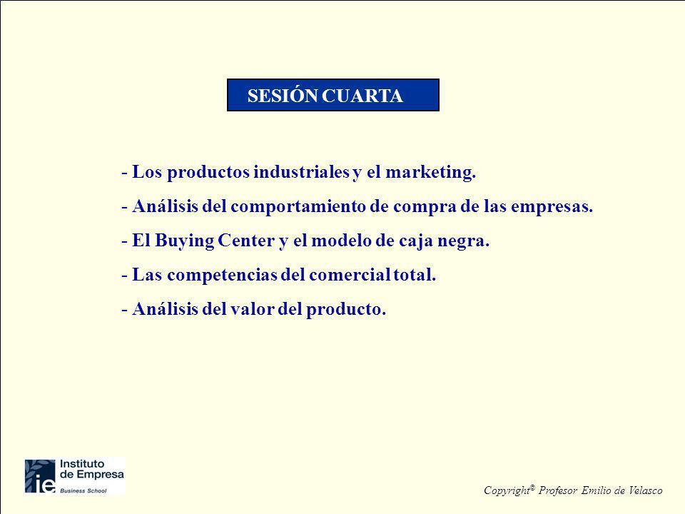 - Los productos industriales y el marketing. - Análisis del comportamiento de compra de las empresas. - El Buying Center y el modelo de caja negra. -