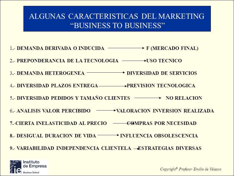 Copyright © Profesor Emilio de Velasco ALGUNAS CARACTERISTICAS DEL MARKETING BUSINESS TO BUSINESS 1.- DEMANDA DERIVADA O INDUCIDAF (MERCADO FINAL) 2.-