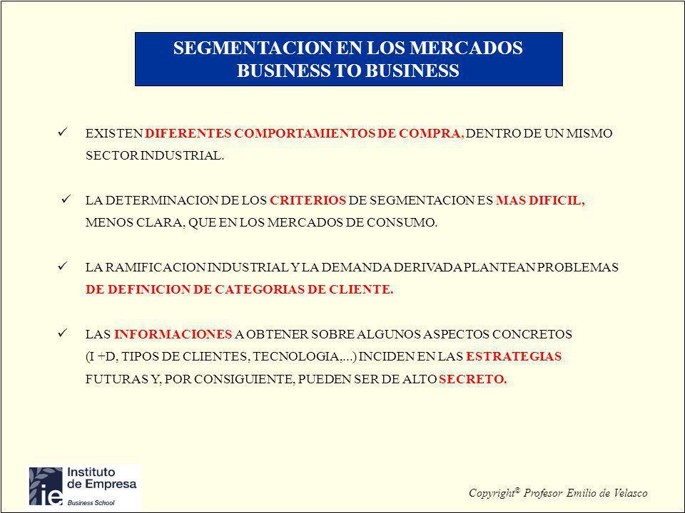 Copyright © Profesor Emilio de Velasco SEGMENTACION EN LOS MERCADOS BUSINESS TO BUSINESS EXISTEN DIFERENTES COMPORTAMIENTOS DE COMPRA, DENTRO DE UN MI
