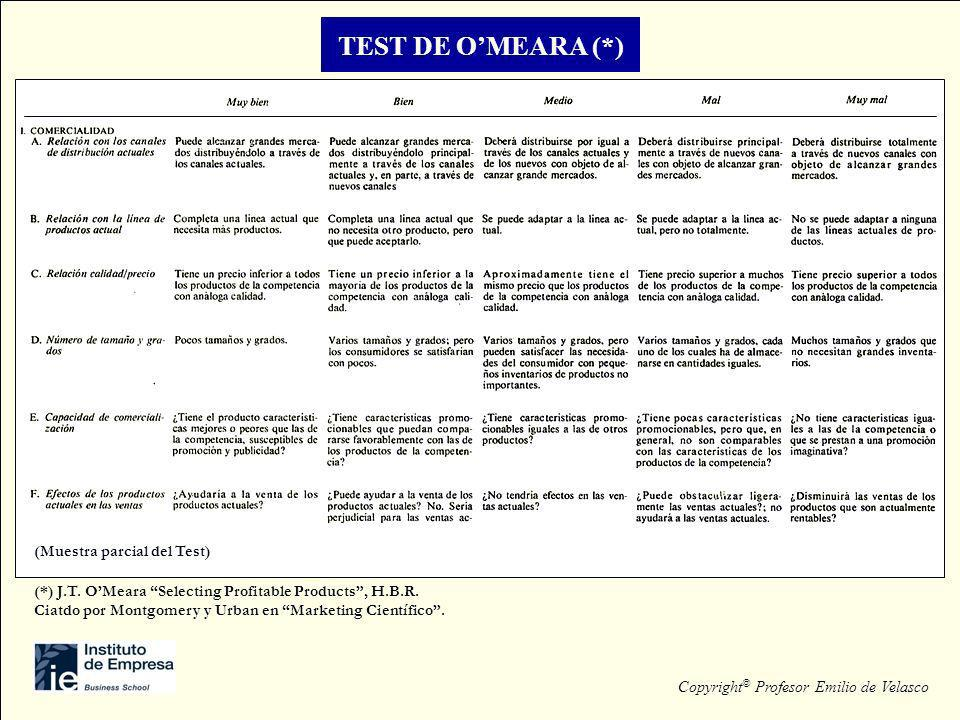 TEST DE OMEARA (*) (Muestra parcial del Test) Copyright © Profesor Emilio de Velasco (*) J.T. OMeara Selecting Profitable Products, H.B.R. Ciatdo por