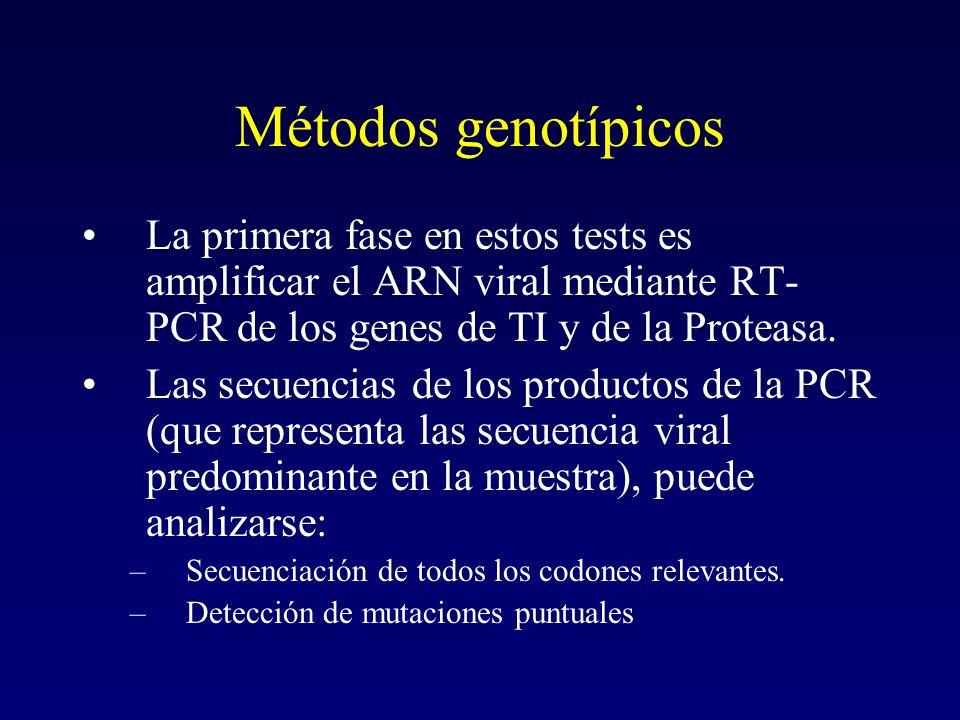 Métodos genotípicos La primera fase en estos tests es amplificar el ARN viral mediante RT- PCR de los genes de TI y de la Proteasa. Las secuencias de