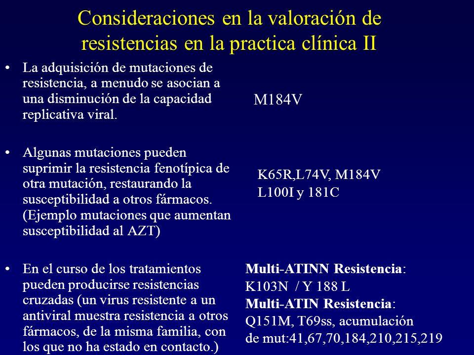 Consideraciones en la valoración de resistencias en la practica clínica II La adquisición de mutaciones de resistencia, a menudo se asocian a una dism