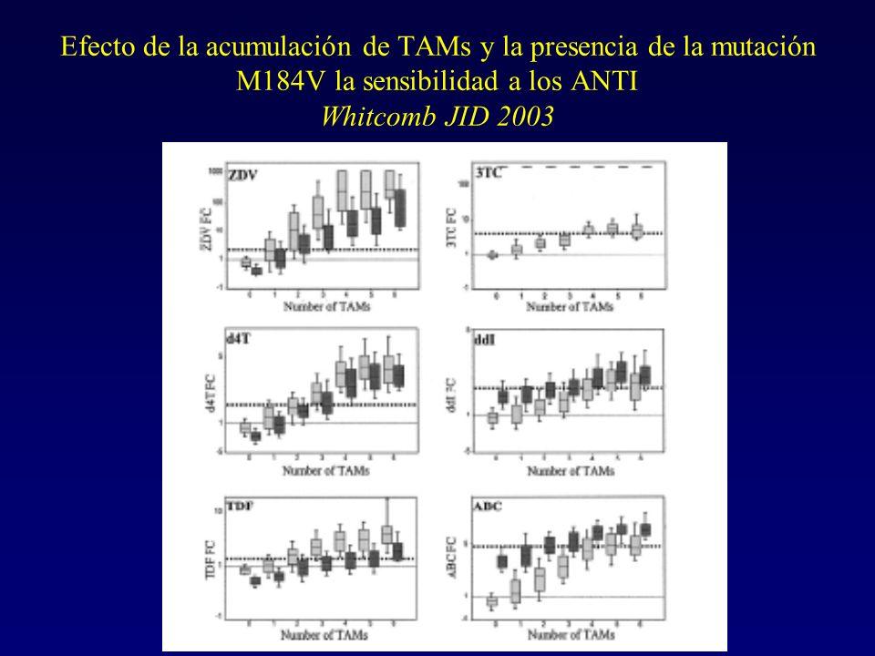 Efecto de la acumulación de TAMs y la presencia de la mutación M184V la sensibilidad a los ANTI Whitcomb JID 2003