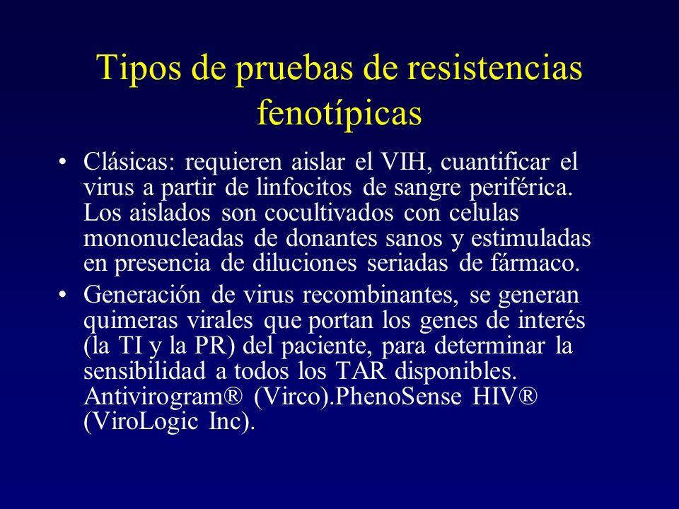 Tipos de pruebas de resistencias fenotípicas Clásicas: requieren aislar el VIH, cuantificar el virus a partir de linfocitos de sangre periférica. Los